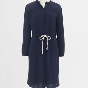 J.Crew Navy High Low Hem Shirt Dress w/Rope Belt